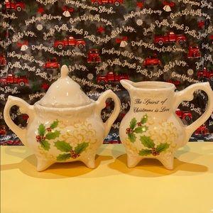 Christmas Sugar Bowl & Creamer NWOT